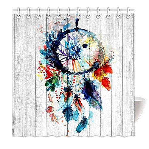 YISUMEI Hem Gewichte Vorhang Duschvorhang 120x180 cm Traumfänger Bunt Holz HD-Bild