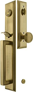 Melrose Style Tubular Handleset in Antique Brass with Providence Knobs and 2 3/8