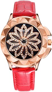Weiqin Women Fashion Watches, Unique Rotating Flower Crystal Face Leather Ladies Gift Watch