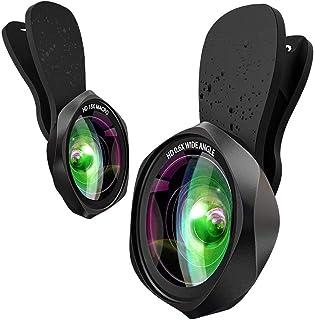 スマホレンズ クリップ式 0.6倍広角レンズ 15倍マクロレンズ 198°魚眼レンズ 高画質カメラレンズキット 自撮り ワイド 接写 スマホ用カメラレンズセット iphone Android全機種対応 簡単装着 携帯レンズ 2in1(広角+マクロ)