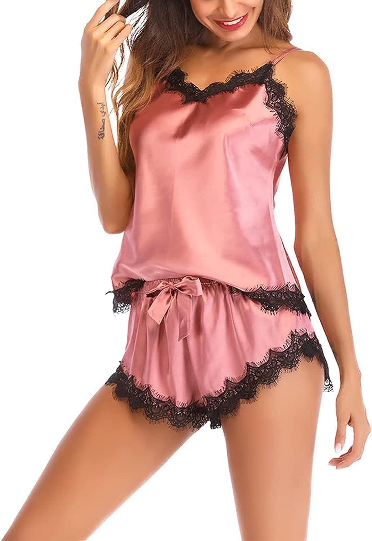 Lu's Chic Women's Satin Pajama Cami Set Silky Lace Nightwear 2 Piece Lingerie Short Sleepwear