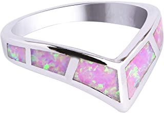 KELITCH Fire Oval ha creato un anello placcato in argento sterling 925 con opale per ragazze / donne 78B-9