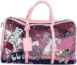 bulingbulingseason Portable Women Paillette Travel Holdalls Overnight Cabin Baggage Ladies Gym Holdall Holiday Duffle Handbag