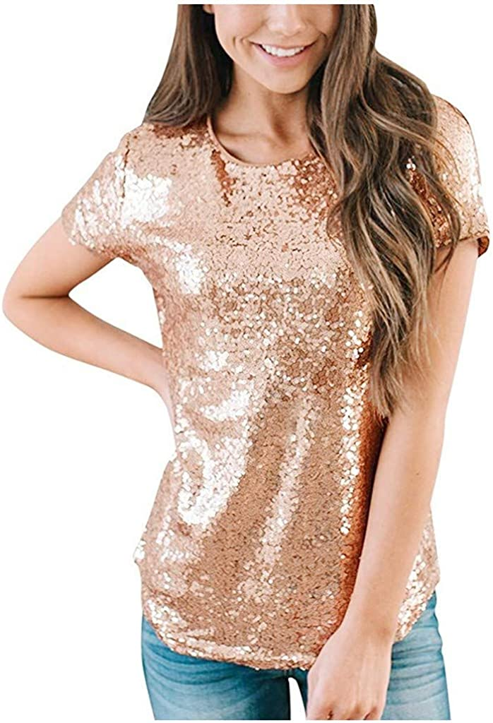 T Shirts for Women, Womens Graphic Tees Crew Neck Short Sleeve Fashion Sequin T Shirts Summer Tunics Tops Blouses Shirts