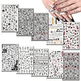 10 Sheets Punk Nail Art Stickers Decals Self-Adhesive Nail Decals, Leaf Alphabet Number Flower Butterfly Nail Design for Women Girls, Nail Decorations Supplies Manicure Tips Beauty Charms
