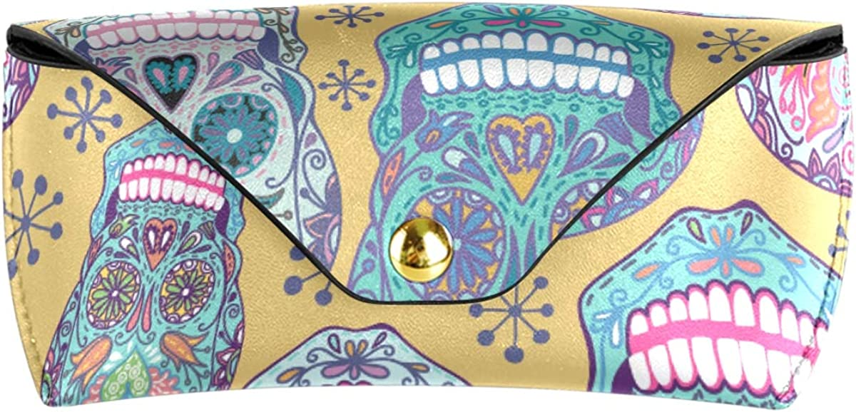 Multiuse Wallet PU Leather Sunglasses Case Eyeglasses Pouch Portable Goggles Bag Happy Colorful Floral Sugar Skull Pattern