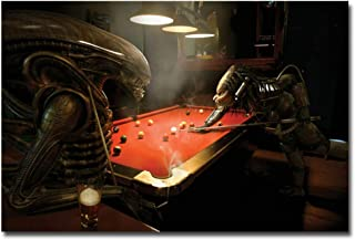 NICOLESHENTING Alien vs Predator 3 Play Snooker Movie Art Poster Print Decoration gift Wall Pictures Room Decor -60x90cm Sin marco