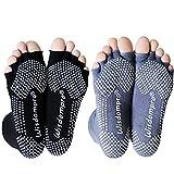 wisdompro 2 pares de calcetines de yoga sin dedos con agarre antideslizante para mujeres y hombres - - M/L