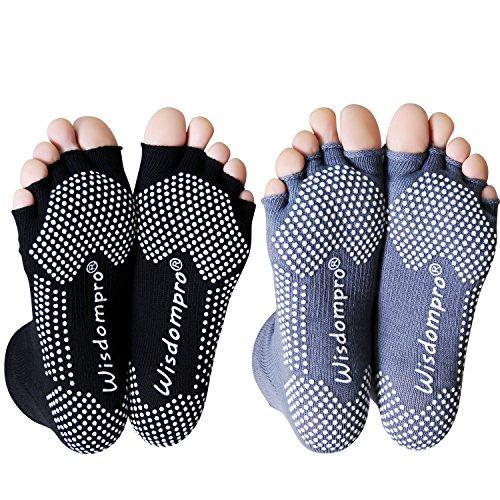 yoga socks Wisdompro 2 Pairs Toeless Half Toe Yoga Socks with Anti Slip Grip for Women & Men