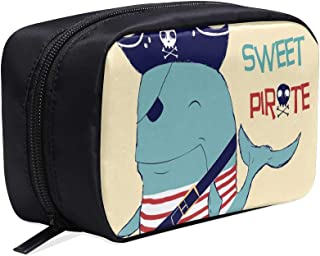 Cartoon Pirate Shark With Shipwreck Portable Travel Makeup Cosmetic Bags Organizer Multifunction Case Small Toiletry Bags For Women And Men Brushes Case