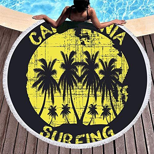 DC Wesley Vacaciones Retro Redondo Impreso Toalla De Playa Suave Microfibra Playa Cojín Flecos Lado Absorción De Agua