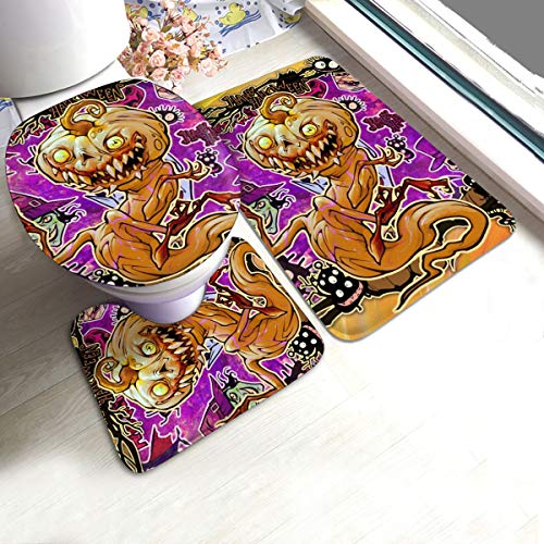 N/R Halloween Phantom Plant Pompoen Monster U-Shaped Toilet 3 Stuk Badmat Set Badkamer Tapijten Tapijten Antislip Voor Indoor Contour Tapijt Gepersonaliseerd