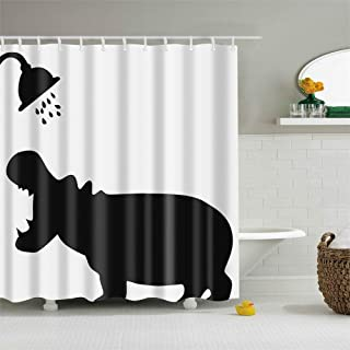 BARTORI Durable Shower Curtain with Hooks A Black River Horse Shadow is Shower Under The Shower Head White Background Waterproof Polyester Fabric Bath Curtain 71''X71'' About 350g Bathroom Curtain