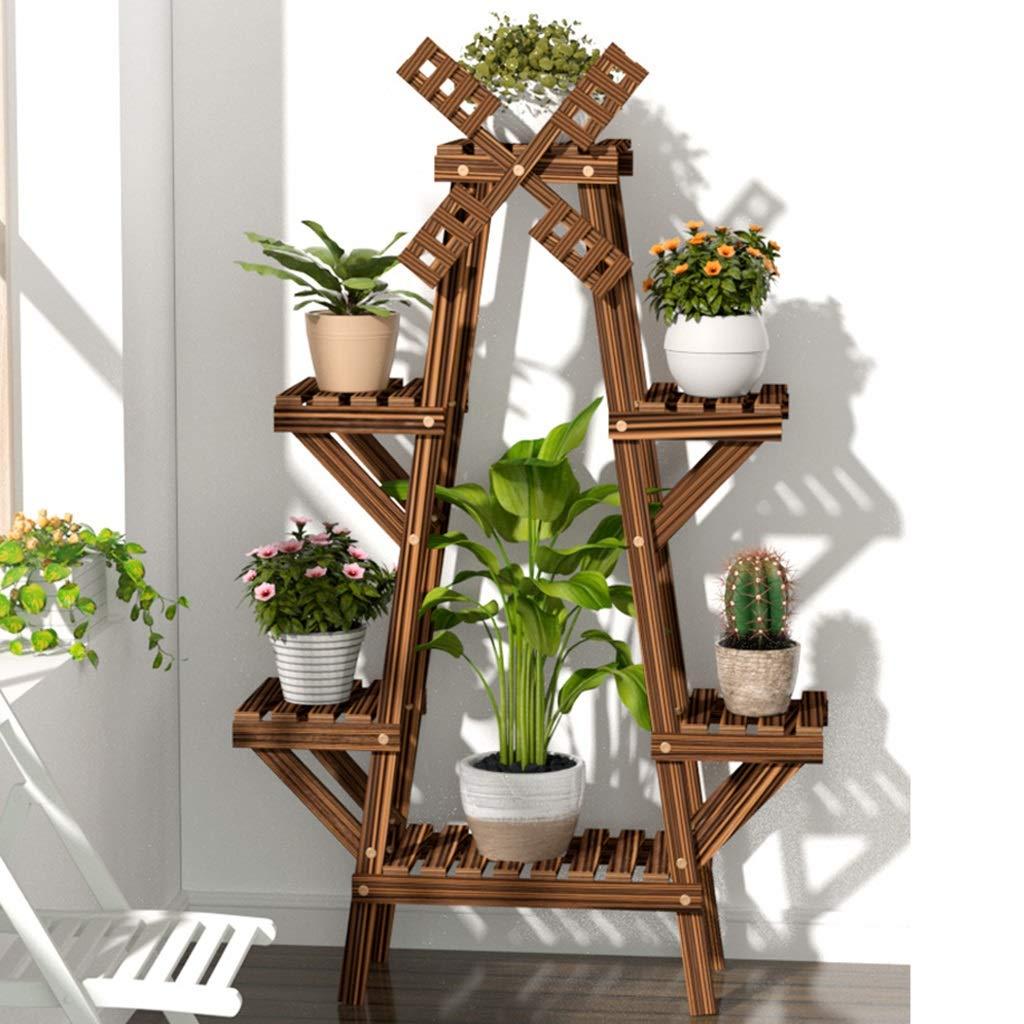 Soporte de exhibición de Planta en Maceta de 4 Niveles - para Uso en jardín Interior y Exterior - Ideal para macetas y arbustos en macetas - con Molino de Viento Giratorio: Amazon.es: Hogar