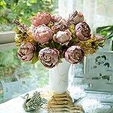 HuntGold 1X Fleurs Artificielles Pivoine Soie bouquet Décoration pour fêtes de mariage Bouquet (Cameo)
