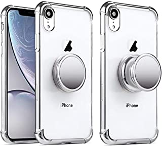 iPhone XR Clear Case with Stand Premium Soft TPU Protective Shockproof Case with Kickstand Grip Iron Mirror Fit Car Mount (Clear+Silver)