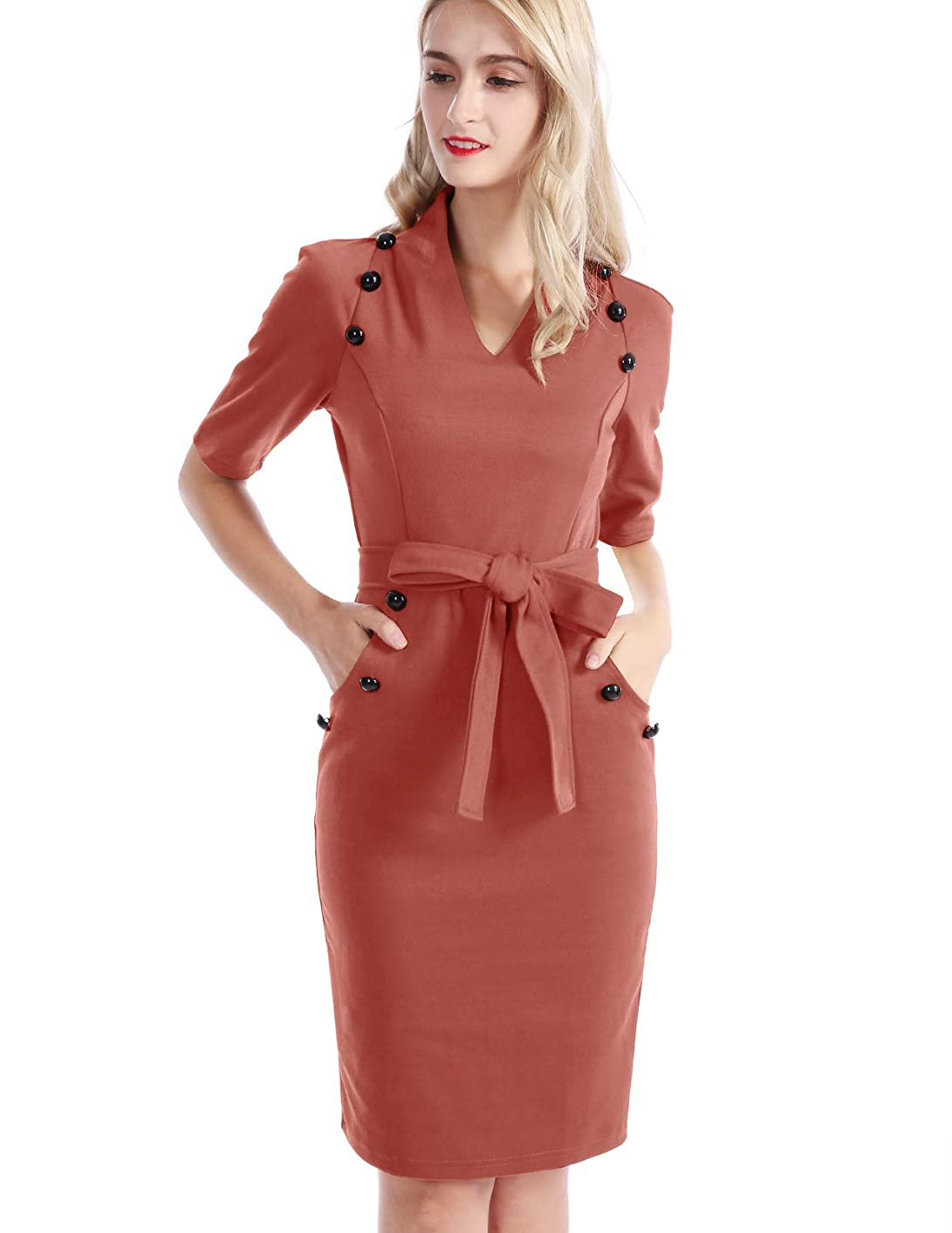 CHICIRIS Women Cozy Business Suit Short Sleeve Belted Bodycon Pencil Dress