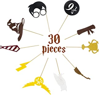 Hot Bear 30 pack For Harry Potter Inspired Cupcake Toppers For Harry Potter Wizard Birthday Party Decorations Supplies Hogwarts Party Decor with 10 different Elements of Harry Potter Theme