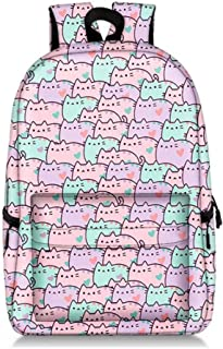 Unisex Lovely Fat Kitty Casual Backpack Shoulder Bag Full Print Large Capacity Schoolbag