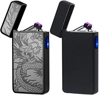 USB Lighter 2 Pack,Dual Arc Electric Plasma Lighter Rechargeable Flameless Metal Lighter..