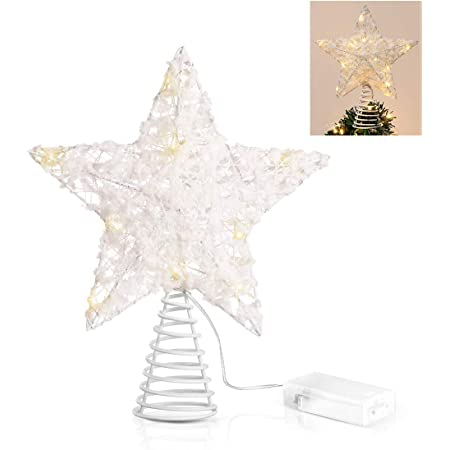 3D Star Treetop for Home D/écor//Holiday Ornament Gold Shatter-Proof Sparkling Christmas Treetop Decorative Star for Christmas Tree Decoration HOMINE 8 Glitter Star Christmas Tree Topper