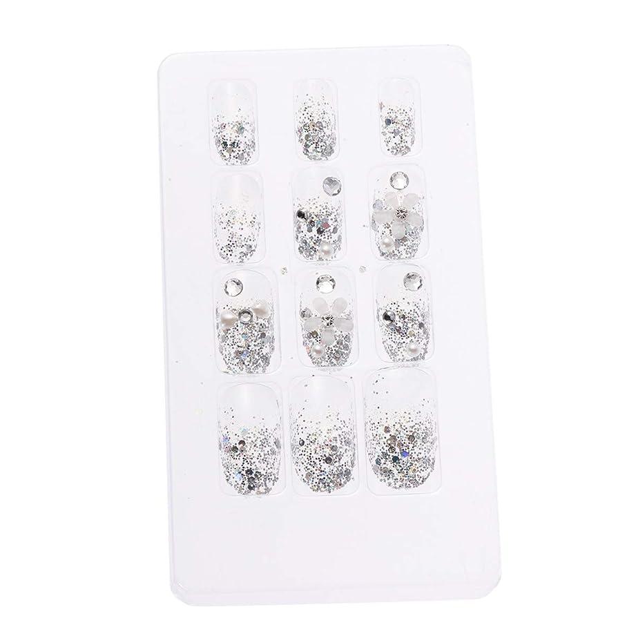 パンチマティス面積LURROSE 24ピースネイルステッカー 人工ダイヤモンド装飾ネイルアート用ブライダル女性