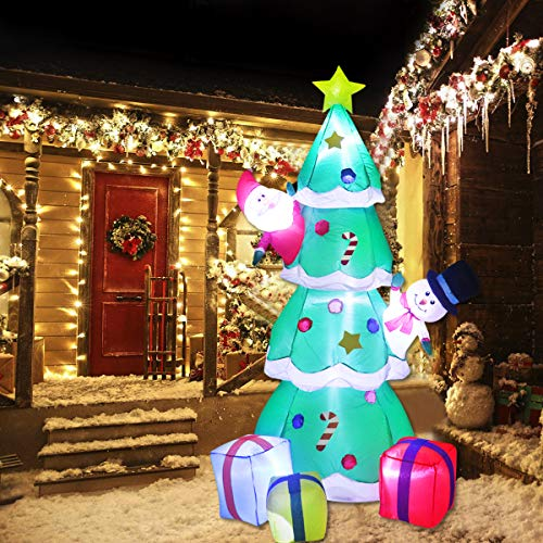 Lovezone 7ft Outdoor Inflatable Christmas Decorations - Built-in LED Lights Blow Up Christmas Tree with 3 Gift Wrapped Boxes,1 Santa,1 Snowman Christmas Yard Decor for Indoor Outdoor Garden Lawn