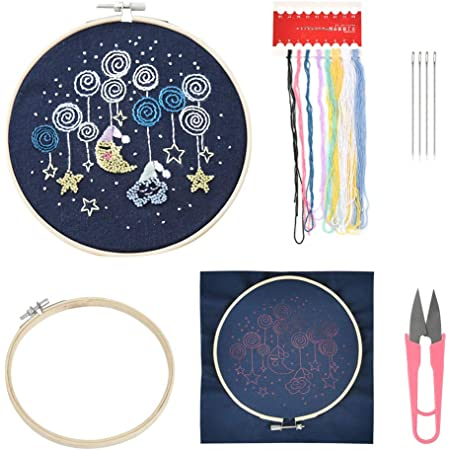 Ritioner Embroidery Starter Kit with Pattern,DIY Handmade Needlework Counted Cross Stitch Set Embroidery Kit 14CT Beautiful Flowers Pattern Cross-Stitching 21 50cm Home Decoratio