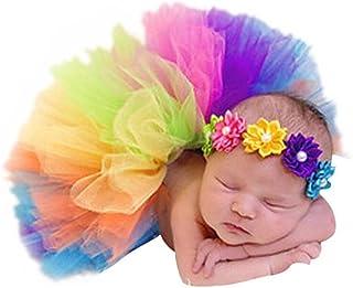 أزياء حديثي الولادة البنات ملابس الأطفال فوتوغرافي قوس قزح توتو تنورة زهرة غطاء للرأس