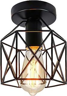 Vintage lampa sufitowa montaż podtynkowy czarny żelazny abażur przemysłowy wiszący lampa metalowa klatka do korytarza sypi...