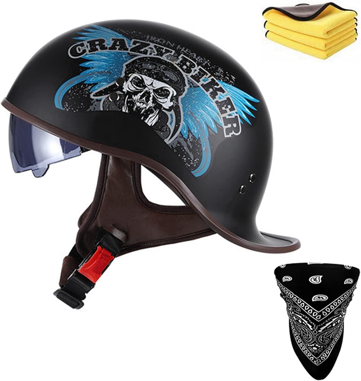 Retro Motorcycle Under blast sales Half Shell Open Face Helmet- Sun with Qui famous Visor