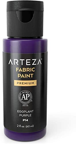 Arteza Permanent Fabric Paint P14 Eggplant Purple, 60 ml Bottle, Washer & Dryer Safe, Textile Paint for Clothes, T-Sh...