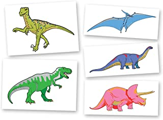 Dinosaur Variety Set includes 25 assorted premium waterproof colorful metallic kids temporary foil Fun Tats by Flash Tattoos, party favor