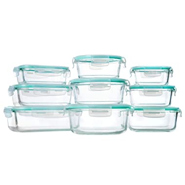 Bayco Glass Storage Containers with Lids, 9 Sets Glass Meal Prep Containers Airtight, Glass Food Storage Containers, Glass Containers for Food Storage with Lids - BPA-Free & Leak Proof(Blue)