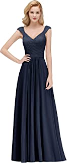 Women's Elegant Deep V Neck Long Formal Evening Gowns Bridesmaid Dresses
