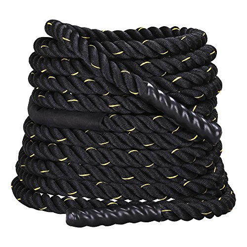YAHEETECH 1.5in Width 50ft Length FDY Battle Rope Workout Training Undulation Power Training Rope Fitness Rope Exercise Rope Black
