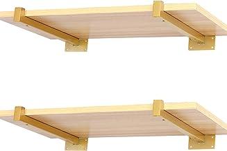 Gouden plankbeugels 20 cm, beugels voor wandplanken, zware stoffige industriële metalen drijvende plankbeugel met lip 4 stuks