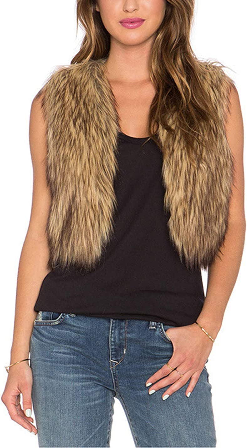New popularity Tanming Women's Sleeveless Open Front Vest Short Cheap Faux Fluffy Fur