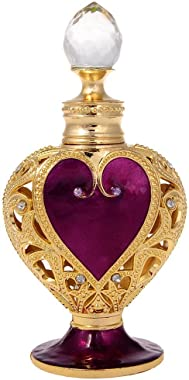 H&D Metalic with Diamond Loving-Heart Perfume Bottle Scented Fragrance Container 8ml for Purse or Travel Refillable~ New with Vintage Style (Purple red)