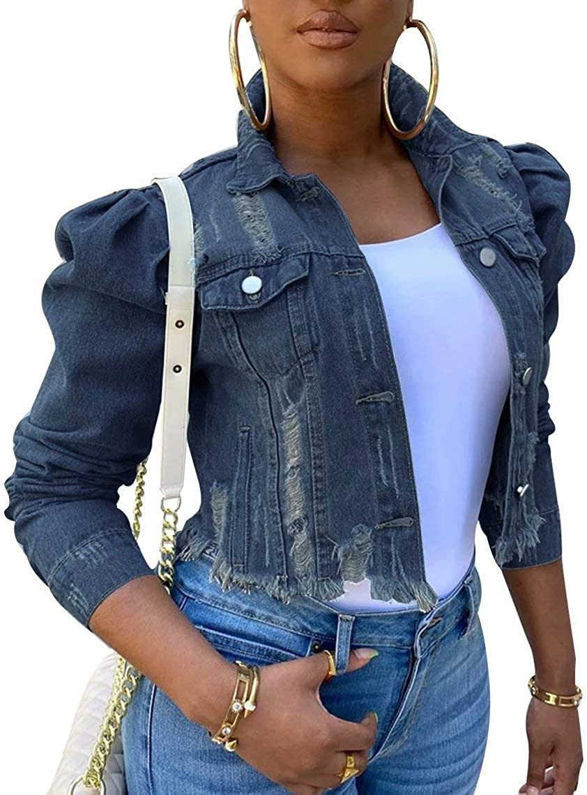 Casual Washed Denim Distressed Jacket for Women Puff Sleeve Ripped Classic Button Up Cropped Jean Jackets