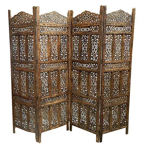 Paravent Ajanta 200x182cm Holz Indische Trennwand Raumteiler Möbel Wohnzimmer