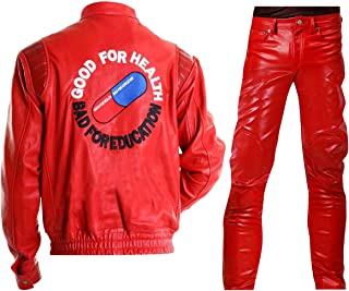 Mens Akira Jacket Capsule Shotaro Kaneda Pill Red/Black Biker Bomber Costume Leather Jacket