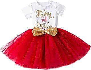 IBTOM CASTLE Baby Girls Newborn It's My 1st/2nd Birthday Cake Smash Shinny Printed Sequin Bow Tutu Princess Dress