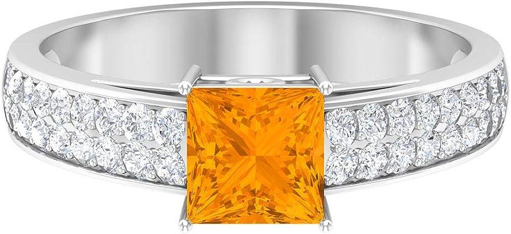 Max 53% OFF 5.5 MM Princess Cut Lab Created Ring Moi mart Orange D-VSSI Sapphire