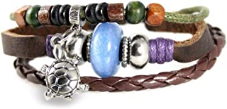 Turtle Bead Leather Zen Bracelet Fits 5 to 8 Inches in Gift Box