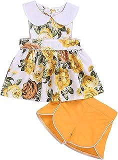 Divilon 2PCs Kid Toddler Girl Outfits Sleeveless Floral Skirt Rollneck Top Dress Tassels Shorts Summer Outfit
