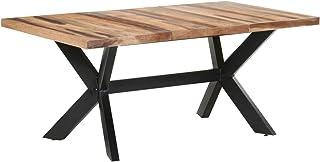 Tidyard Table de Salle à Manger, Table de Repas Meuble à Manger, Table Console Extensible 180x90x75 cm Bois Solide avec Fi...