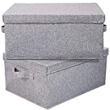 HOONEX Linen Foldable Storage Bins with lid, 2 Pack, Storage Boxes with Carrying Handles and Study Heavy Cardboard, 16.5' L x 11.8' W x 7.5' H for Toy, Shoes, Books, Clothes, Nursery, Light Grey