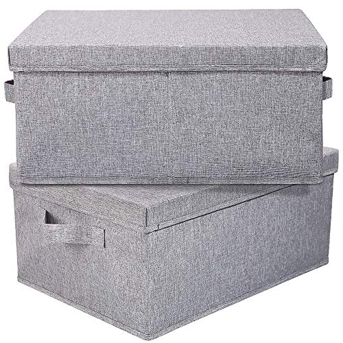HOONEX Linen Foldable Storage Bins with lid 2 Pack Storage Boxes with Carrying Handles and Study Heavy Cardboard 165 L x 118 W x 75 H for Toy Shoes Books Clothes Nursery Light Grey