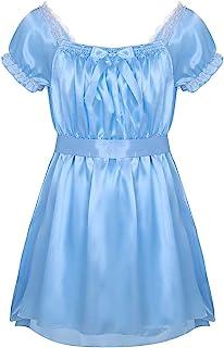 JEATHA Men's Frilly Satin Maid Sissy High Low Night Dress Cross Dresser Lingerie Pajamas Nightdress Sleepwear
